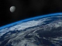 Tierra y luna hermosas stock de ilustración