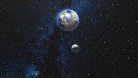 Tierra y luna que giran y que hacen girar en espacio abierto ilustración del vector