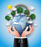 Tierra y mano verdes de Eco