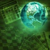 Tierra y mapa del mundo en fondo del dinero Imagenes de archivo