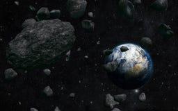 Tierra y meteorito stock de ilustración