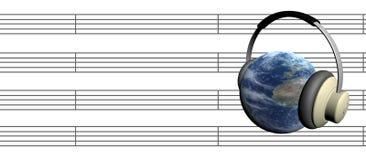 Tierra y música-nota Imagen de archivo libre de regalías