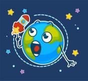 Tierra y nave espacial sorprendidas que vuela alrededor de órbita ilustración del vector