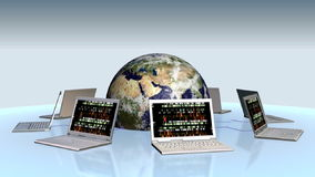Tierra y ordenadores portátiles con números al azar en la pantalla, cantidad común ilustración del vector
