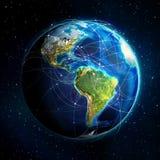 Tierra y rutas de vuelo - América stock de ilustración