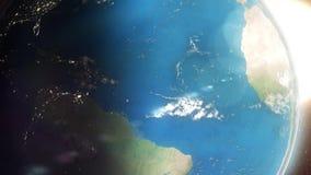 Tierra y satélite que pasan cerca ilustración del vector