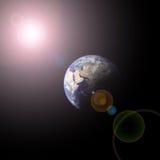 Tierra y sol del planeta Foto de archivo libre de regalías