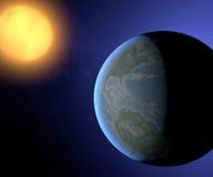 Tierra y sol, opinión de América del espacio Fotografía de archivo