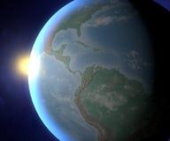 Tierra y sol, opinión de América del espacio Foto de archivo