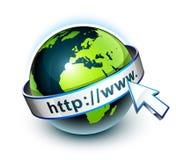 Tierra y World Wide Web Imagen de archivo libre de regalías