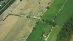 Tierras de labrantío aéreas, cultivando, cosechas, agricultura metrajes
