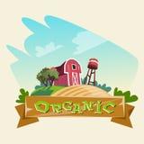 Tierras de labrantío, agricultura biológica Logo Concept Imagen de archivo