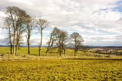 Tierras de labrantío en Lothian del oeste, Escocia Foto de archivo libre de regalías