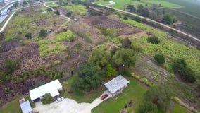 Tierras de labrantío por el vídeo de la antena de Okeechobee la Florida del lago almacen de metraje de vídeo