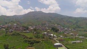 Tierras de labrant?o y pueblo Java Indonesia del paisaje de la monta?a almacen de metraje de vídeo