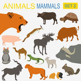 Tiersäugetier-Ikonensatz Flache Art des Vektors Stockfoto