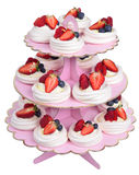 Tiers on a pink base, Pavlova cake, isolated. Tiers on a pink base, Pavlova cake Stock Image