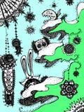 Tierschneeflockenbaum des neuen Jahres Hintergrund für eine Einladungskarte oder einen Glückwunsch Lizenzfreie Stockbilder