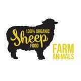 Tierstromkreis der schwarzen Schafe mit Produktbeschriftung Stockfoto