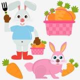 Tiervektorikonen: Kaninchen-Häschen mit Karotten Stockbilder