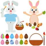 Tiervektorikonen: Kaninchen-Häschen mit Osterei Lizenzfreie Stockfotos