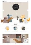 Tierwebsiteschablonenfahne und infographic mit Hund 1 Lizenzfreies Stockbild