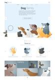 Tierwebsiteschablonenfahne und infographic mit Hund 2 Stockfoto