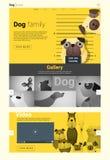 Tierwebsiteschablonenfahne und infographic mit Hund Lizenzfreies Stockfoto
