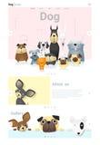 Tierwebsiteschablonenfahne und infographic mit Hund Stockfotos