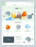 Tierwebsiteschablonenfahne und infographic mit Katzengeschichte Stockbild