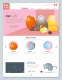 Tierwebsiteschablonenfahne und infographic mit Katzengeschichte Lizenzfreie Stockfotos