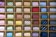 Ties. A wall of colorful and neatly presented mens ties Royalty Free Stock Photos