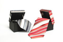Ties. Business tie with stripes in a box Royalty Free Stock Photos