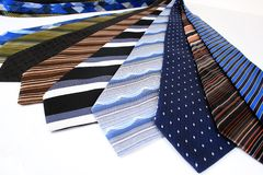 Ties. Lots of ties isolated over white Royalty Free Stock Photography
