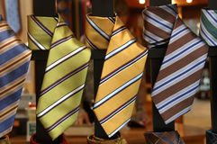 Ties. Striped ties in the window of a shop Stock Image