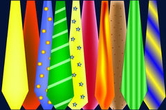 Ties. Illustration of a tie rack Stock Image