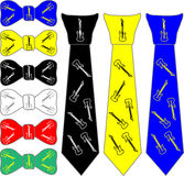 Ties and the bow tie for the guitarist Royalty Free Stock Images