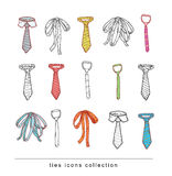 Ties and Bow Ties doodle vector Stock Image