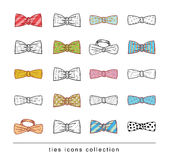 Ties and Bow Ties doodle vector Royalty Free Stock Photo
