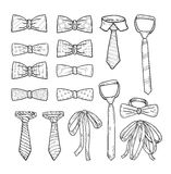 Ties and Bow Ties hand drawn vector illustration Royalty Free Stock Images