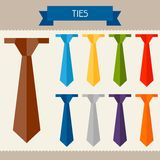 Ties colored templates for your design in flat Stock Image
