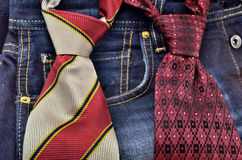 Ties and jeans Stock Photos