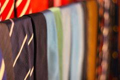 Ties for real man on the row Royalty Free Stock Photography