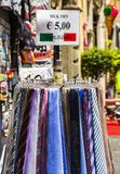 Ties for sale at a market stall Royalty Free Stock Photos