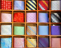 Ties on the shelf of a shop Royalty Free Stock Images