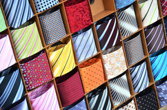 Ties on the shelf. Of a shop Stock Images