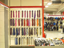 Ties in a store for sale. Stock Photos