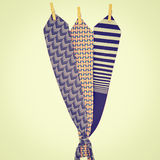 Ties. Three Ties Hanging on a Rope with Wooden Pegs, Instagram Effect Royalty Free Stock Photos