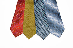 Ties are varicoloured. Four ties varicoloured on a white background Royalty Free Stock Photos