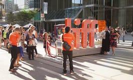 Tiff,toronto international film festival. TORONTO - SEPTEMBER 15, 2016: The TIFF, or Toronto International Film Festival draws many people to watch premiere stock photo